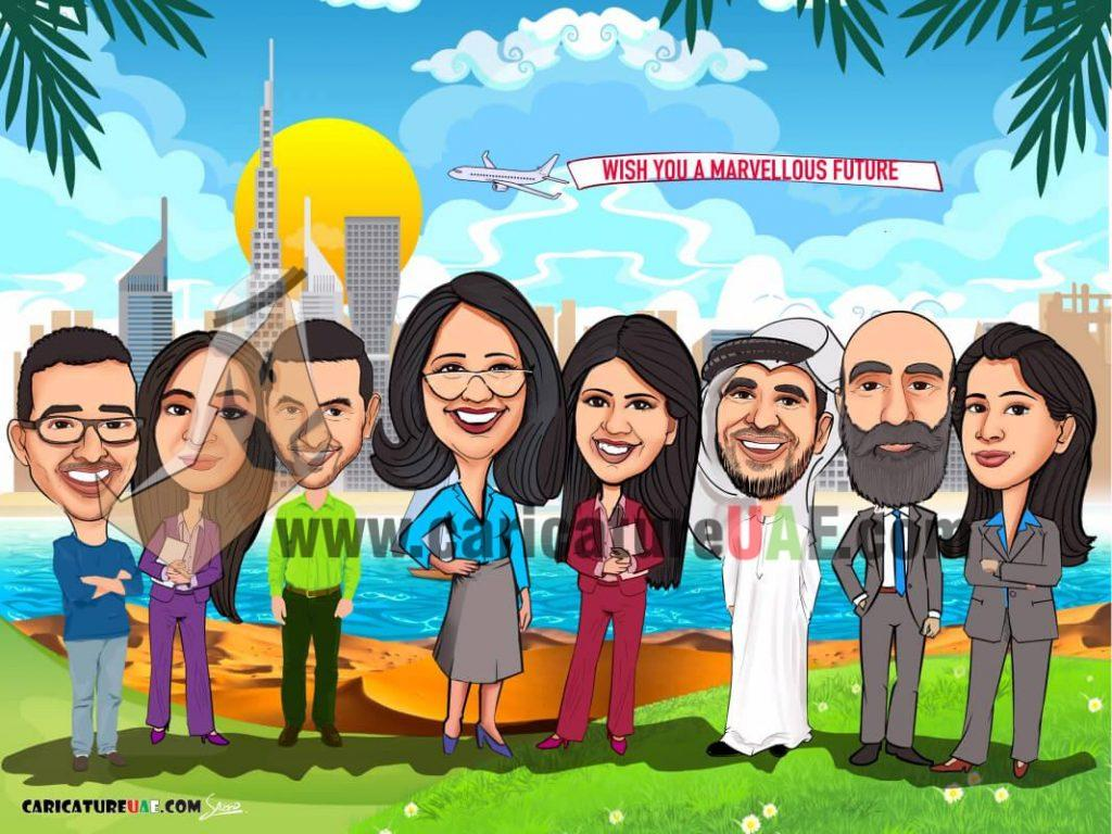 Farewell caricature gift online