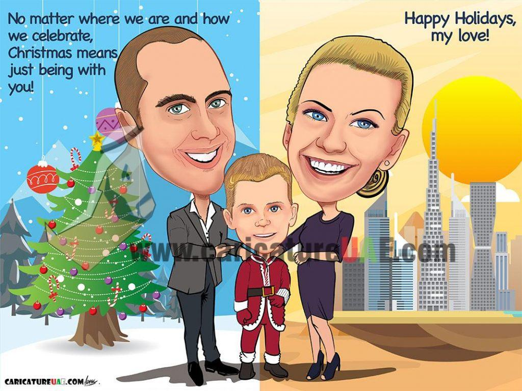 christmas caricature uae