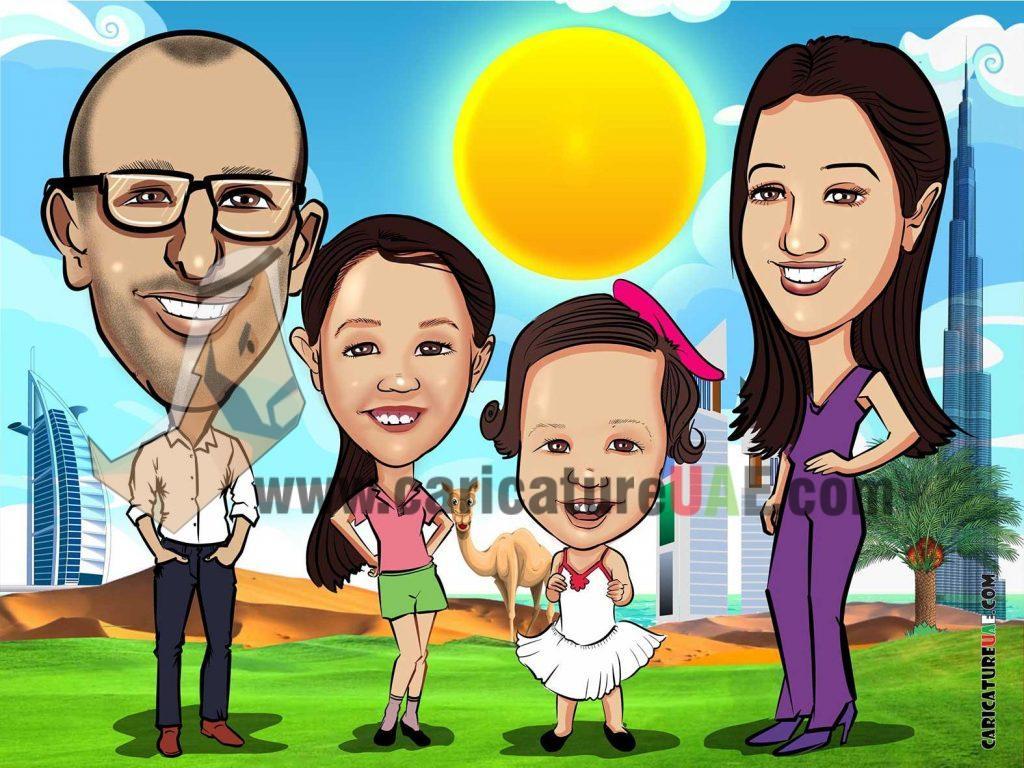 family caricature dubai